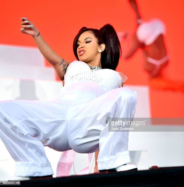 Rapper Cardi B performs onstage during week 1 day 3 of the Coachella Valley Music And Arts Festival on April 15 2018 in Indio California