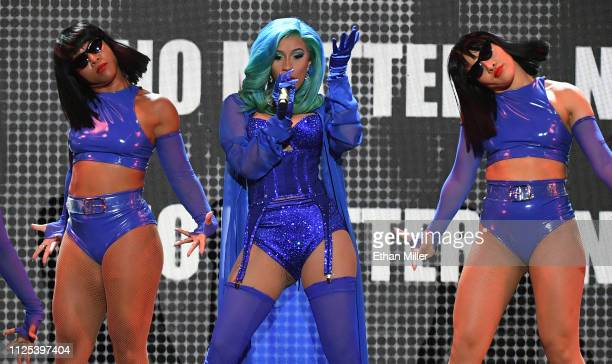 Rapper Cardi B performs with dancers during the 2019 Adult Video News Awards at The Joint inside the Hard Rock Hotel Casino on January 26 2019 in Las...