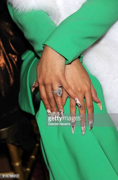 Rapper Cardi B ring and nail detail attends the Christian Siriano fashion show during New York Fashion Week at the Grand Lodge on February 10 2018 in...