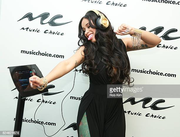 Rapper Cardi B visits Music Choice on April 26 2016 in New York City