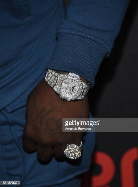 Rapper Casanova watch and ring detail arrives at Roc Nation's PreGRAMMY Brunch on February 11 2017 in Los Angeles California