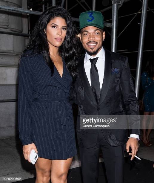 Rapper Chance The Rapper and Kirsten Corley are seen arriving to Harper's BAZAAR ICONS Party at The Plaza Hotel on September 7, 2018 in New York City.