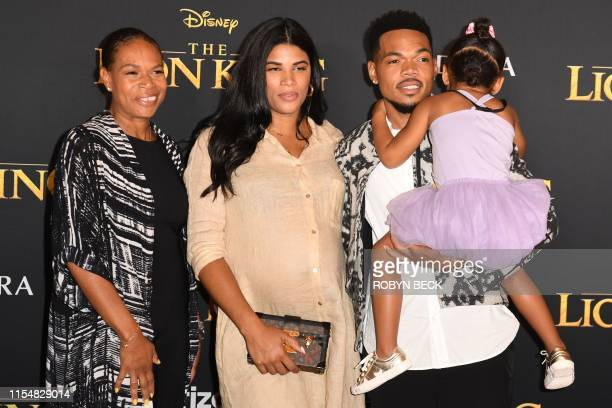 "Rapper Chance The Rapper, wife Kirsten Corley and daughter Kensli Bennett arrive for the world premiere of Disney's ""The Lion King"" at the Dolby..."