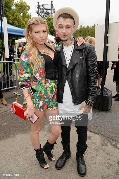Rapper Chanel West Coast and singer Liam Horne attend the 2016 MTV Movie Awards at Warner Bros Studios on April 9 2016 in Burbank California MTV...
