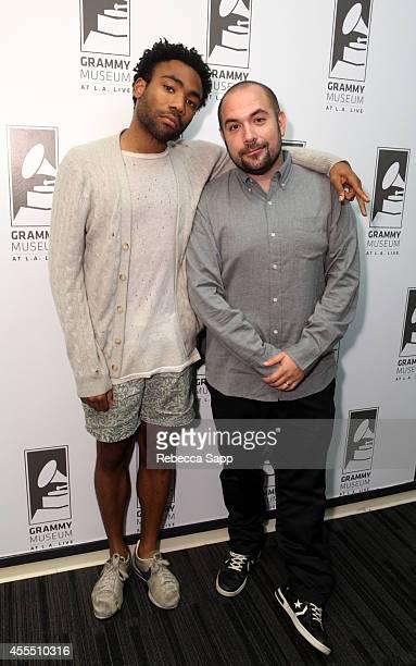 Rapper Childish Gambino and moderator and HOT 97 DJ Peter Rosenberg at Spotlight Childish Gambino at The GRAMMY Museum on September 15 2014 in Los...