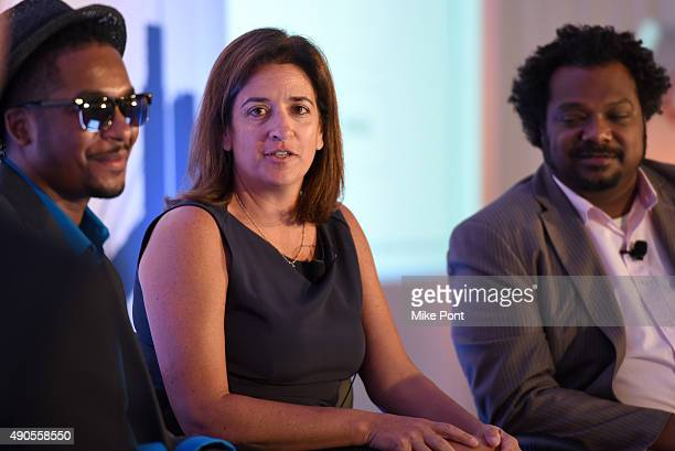 Rapper Chingy CMO at Rubicon Project Mari Kim Novak and Chief Media eCommerce Officer at Mondelez International B Bonin Bough speak onstage at the...