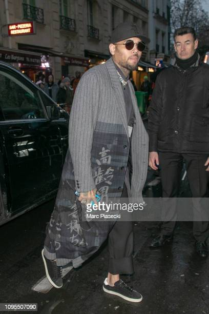 Rapper Chris Brown is seen on January 17 2019 in Paris France