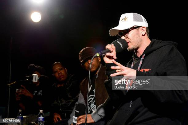 Rapper Chris Webby talks with SiriusXM Host Sway Calloway as he broadcasts 'Sway In The Morning' on Shade 45 on April 20 2017 Denver Colorado