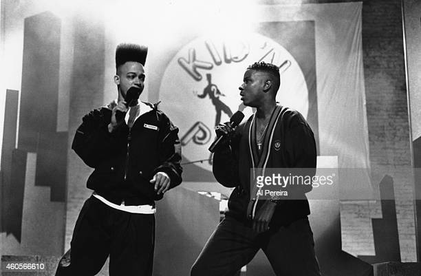Rapper Christopher Kid Reid and Christopher Play Martin of the hiphop group Kid 'n Play perform onstage in circa 1990 in New York New York
