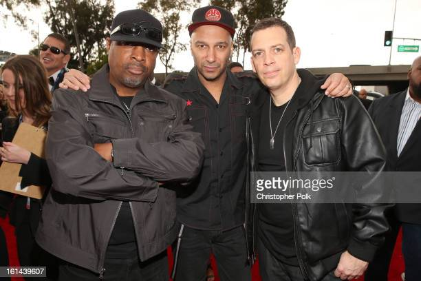 Rapper Chuck D Musician Tom Morello and DJ Z Trip attend the 55th Annual GRAMMY Awards at STAPLES Center on February 10 2013 in Los Angeles California