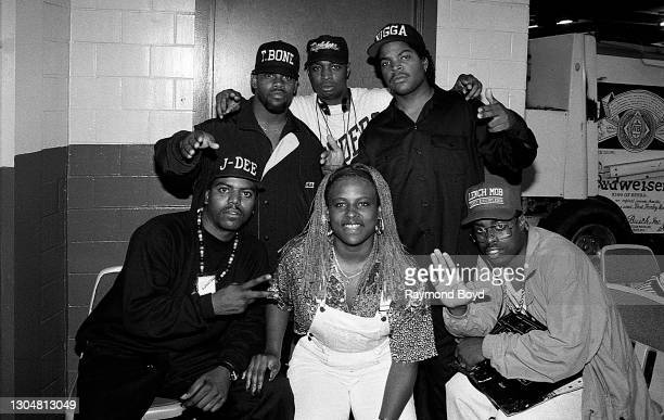 Rapper Chuck D. Of Public Enemy poses for photos with rappers T Bone, Ice Cube, J-Dee, Yo-Yo and DJ Sir Jinx of Da Lench Mob backstage at The Arena...