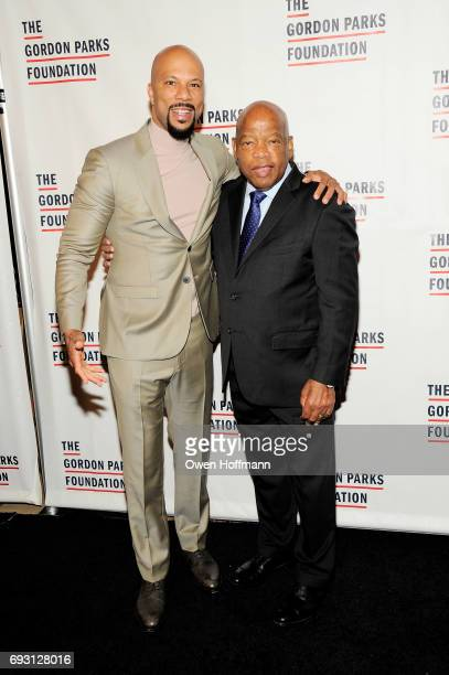 Rapper Common and Congressman John Lewis attend the Gordon Parks Foundation Awards Dinner Auction at Cipriani 42nd Street on June 6 2017 in New York...
