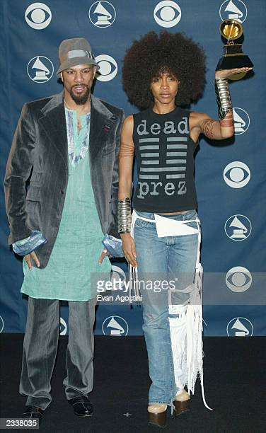 Rapper Common and Erykah Badu pose backstage during the 45th Annual Grammy Awards at the Madison Square Garden on February 23 2003 in New York City