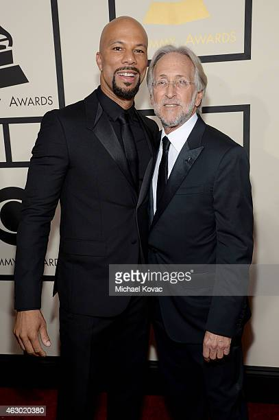 Rapper Common and president of the National Academy of Recording Arts and Sciences Neil Portnow attends The 57th Annual GRAMMY Awards at the STAPLES...