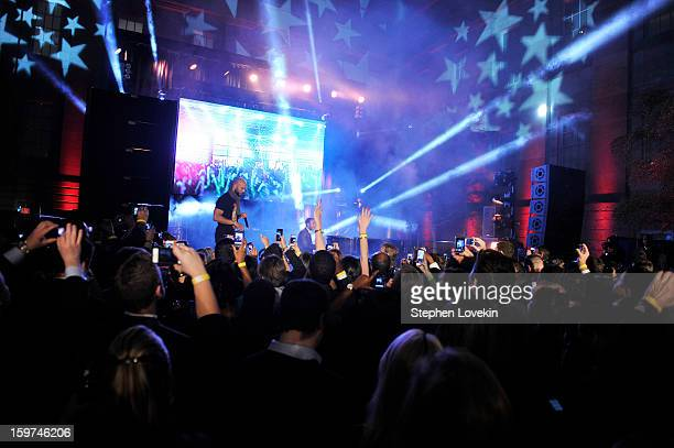 Rapper Common and recording artist actor John Legend perform together at the Generation Now Inaugural Youth Ball hosted by OurTimeorg on January 19...