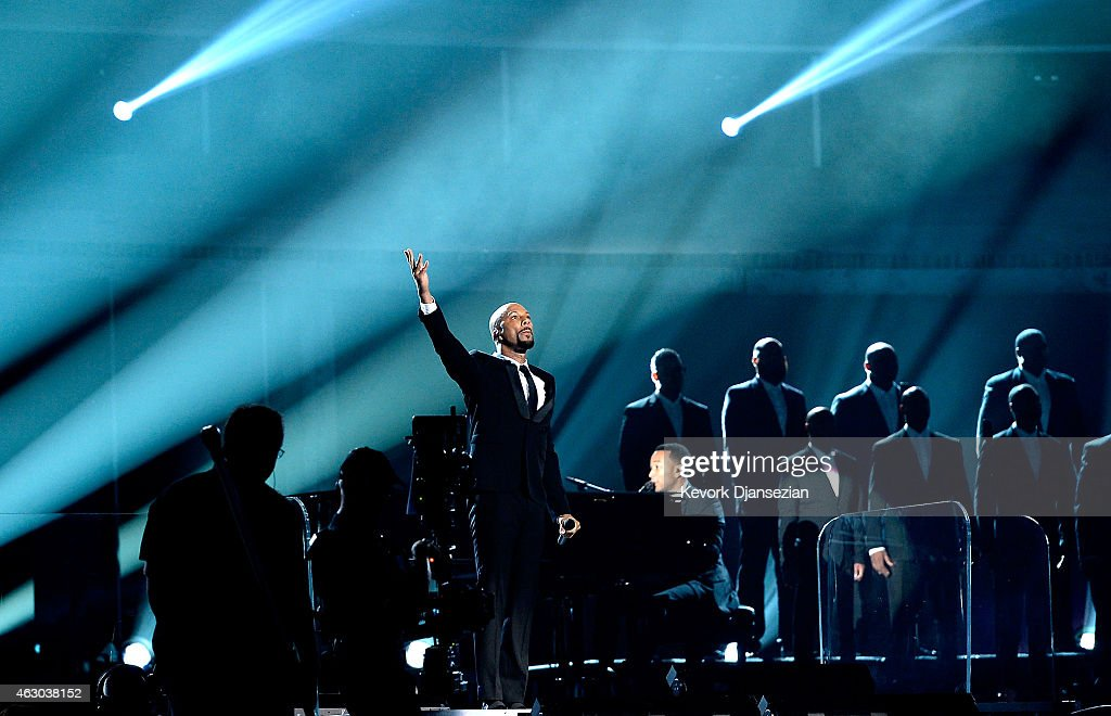Rapper Common (L) and singer John Legend perform 'Glory' onstage during The 57th Annual GRAMMY Awards at the at the STAPLES Center on February 8, 2015 in Los Angeles, California.