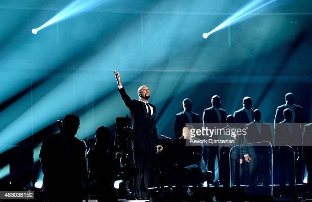 Rapper Common and singer John Legend perform Glory onstage during The 57th Annual GRAMMY Awards at the at the STAPLES Center on February 8 2015 in...