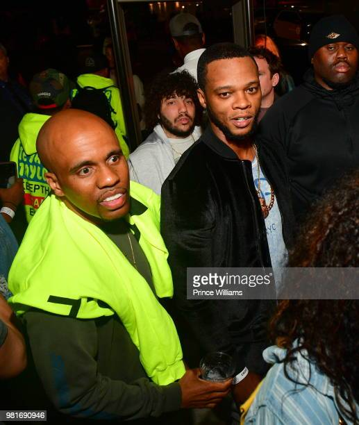 Rapper Consequence and Papoose attend Teyana Taylor Album Release Party at Universal Studios Hollywood on June 21 2018 in Universal City California