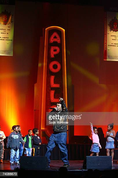 Rapper Consequence performs live with children from the audience during the SpiderMan 3 wrap up event at The Apollo Theatre May 6 2007 in New York...