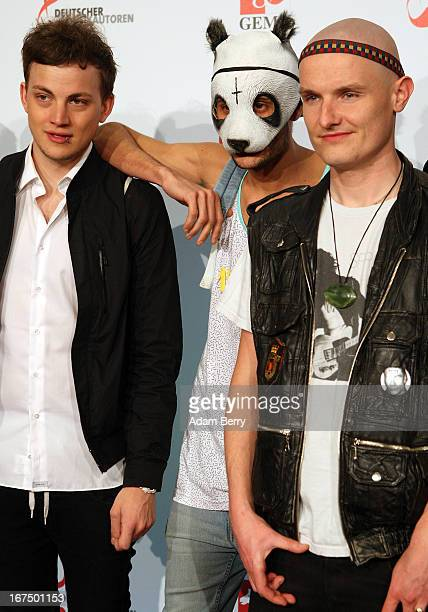 Rapper Cro arrives for the Deutscher Musikautorenpreis 2013 ceremony at the Ritz Carlton hotel on April 25 2013 in Berlin Germany The prize has been...