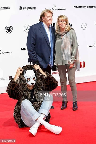 Rapper Cro german singer Howard Carpendale and his girlfriend Donnice Pierce attend the 'Unsere Zeit ist jetzt' World Premiere at CineStar on...