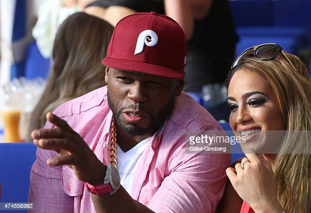 Rapper Curtis 50 Cent Jackson and model Jasmin Cadavid attend the Sapphire Pool Day Club on May 23 2015 in Las Vegas Nevada