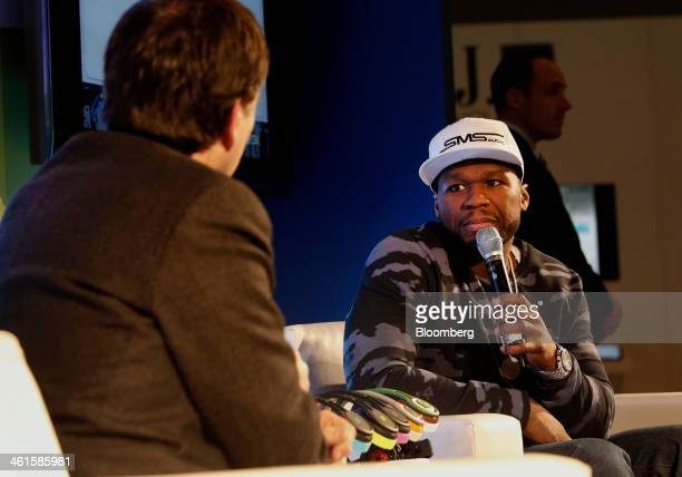 Rapper Curtis '50 Cent' Jackson founder of SMS Audio LLC speaks during an interview at the 2014 Consumer Electronics Show in Las Vegas Nevada US on...