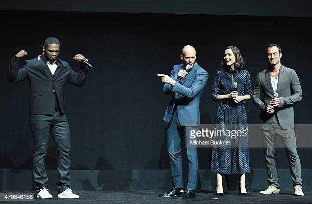 Rapper Curtis 50 Cent Jackson III actors Jason Statham Rose Byrne and Jude Law speak onstage during 20th Century Fox Invites You to a Special...