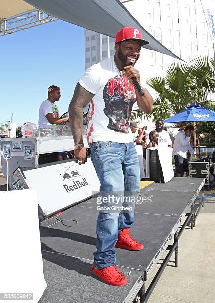 Rapper Curtis 50 Cent Jackson performs at the Sky Beach Club at the Tropicana Las Vegas on May 29 2016 in Las Vegas Nevada