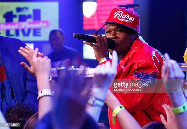 """Rapper Curtis """"50 Cent"""" Jackson performs during MTV's TRL """"Total Finale Live"""" at the MTV Studios in Times Square on November 16, 2008 in New York..."""
