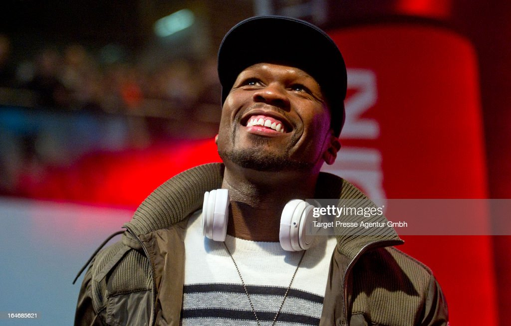 Rapper Curtis '50 Cent' Jackson presents his headphones in Berlin and signs autographs at the shopping mall Alexa on March 26, 2013 in Berlin, Germany.
