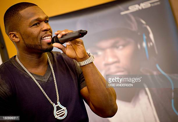 US rapper Curtis 50cent Jackson speaks at the launch of his headphone range from SMS audio at the 52nd edition of the IFA trade fair in Berlin on...
