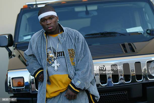 Rapper Curtis Jackson aka '50 Cent Rapper' in front of HUMVEE outside Stage 17 at Raleigh Studios in Manhattan Beach where he is shooting music video...