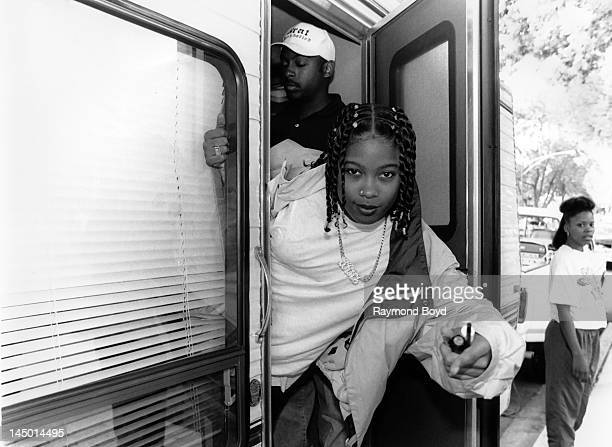 Rapper Da Brat poses for photos on the set of her video Fa All Y'All in Chicago Illinois in JANUARY 1993