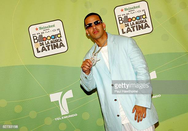 Rapper Daddy Yankee poses backstage at 2005 Billboard Latin Music Awards at the Miami Arena April 28 2005 in Miami Florida