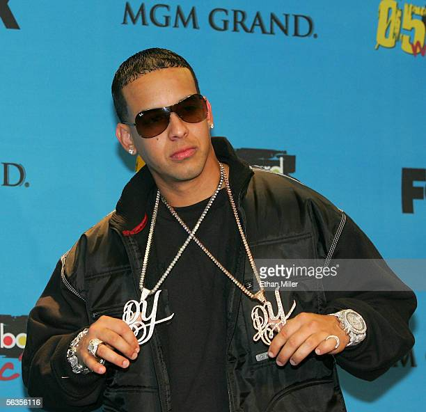 Rapper Daddy Yankee poses in the press room at the 2005 Billboard Music Awards held at the MGM Grand Garden Arena on December 6 2005 in Las Vegas...