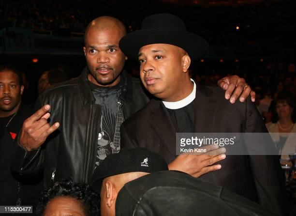 Rapper Darryl DMC McDaniels and Joseph Rev Run Simmons attend the 24th Annual Rock and Roll Hall of Fame Induction Ceremony at Public Hall on April 4...
