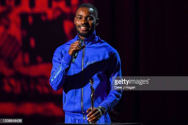 Rapper Dave accepts the Mastercard Album of The Year Award during The BRIT Awards 2020 at The O2 Arena on February 18 2020 in London England