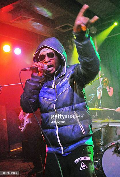 Rapper Del the Funky Homosapien of alternative hip hop supergroup Deltron 3030 performs live on stage with a 16piece orchestra in support of their...