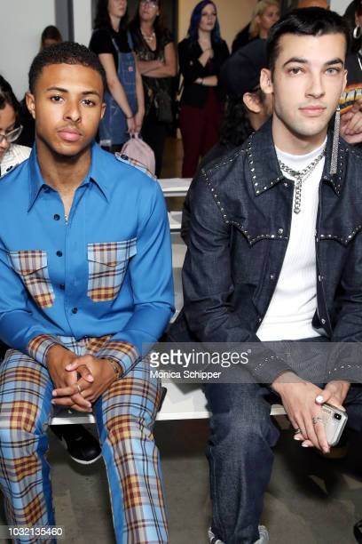 Rapper Diggy Simmons and actor Leo Reilly attend the Calvin Luo front Row during New York Fashion Week The Shows at Gallery I at Spring Studios on...