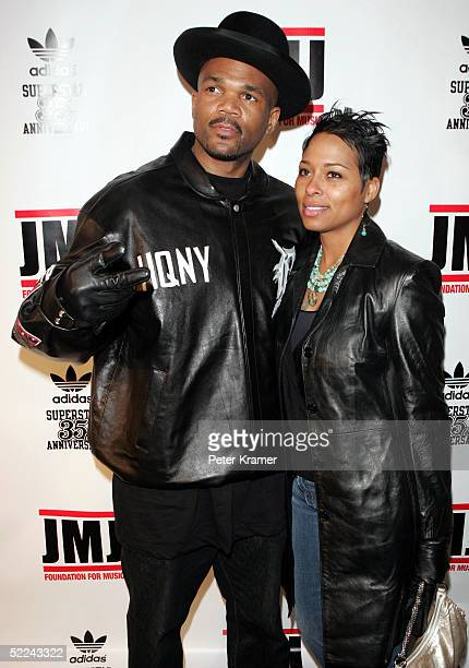 Rapper DMC and Zurin attend the 35th anniversary of the Adidas superstar sneaker honoring the life of Jam Master Jay on February 25 2005 in New York...
