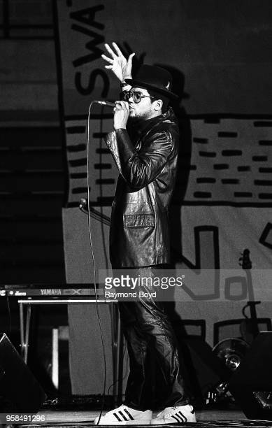 Rapper DMC from Run DMC performs at the UIC Pavilion in Chicago Illinois in October1984