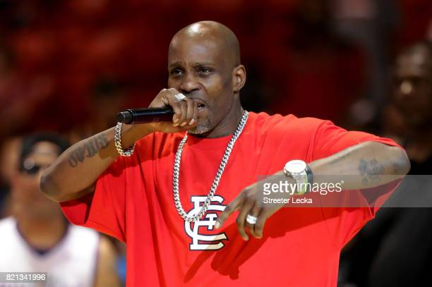 Rapper DMX performs during week five of the BIG3 three on three basketball league at UIC Pavilion on July 23 2017 in Chicago Illinois