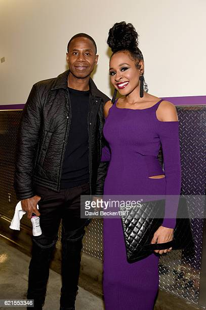 Rapper Doug E Fresh and Janell Snowden seen backstage the 2016 Soul Train Music Awards on November 6 2016 in Las Vegas Nevada