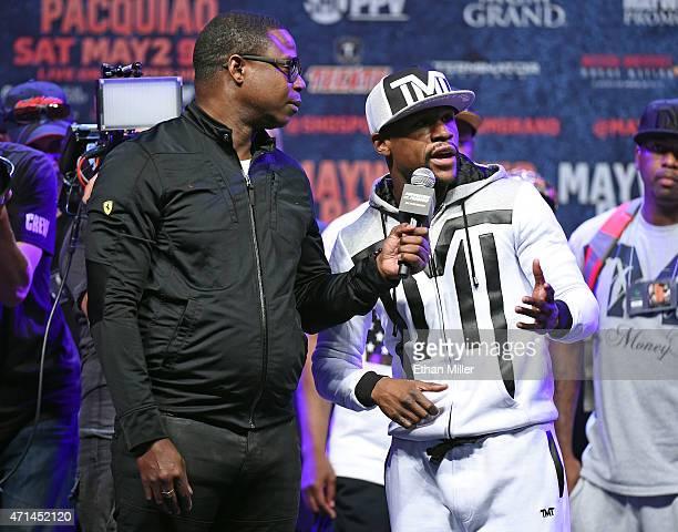Rapper Doug E. Fresh interviews WBC/WBA welterweight champion Floyd Mayweather Jr. At MGM Grand Garden Arena on April 28, 2015 in Las Vegas, Nevada....
