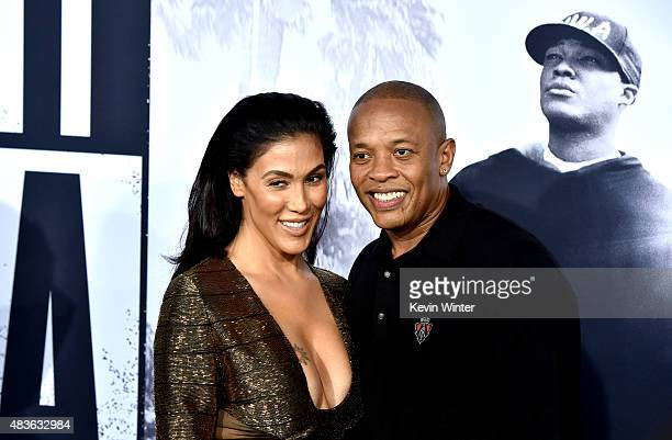 Rapper Dr Dre and his wife Nicole Young arrive at the premiere of Universal Pictures and Legendary Pictures' Straight Outta Compton at the Microsoft...