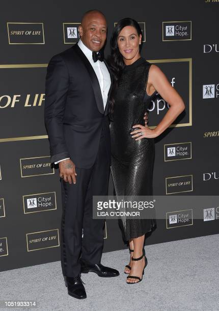 US rapper Dr Dre and his wife Nicole Young attend the City of Hope Gala 2018 in Santa Monica California on October 11 2018