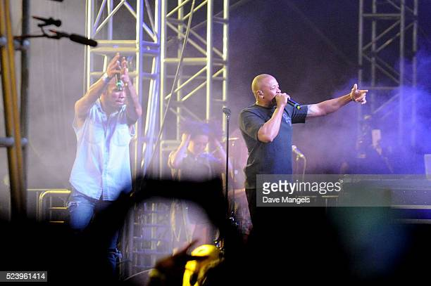 Rapper Dr Dre and recording artist Anderson Paak perform onstage during day 3 of the 2016 Coachella Valley Music Arts Festival Weekend 2 at the...