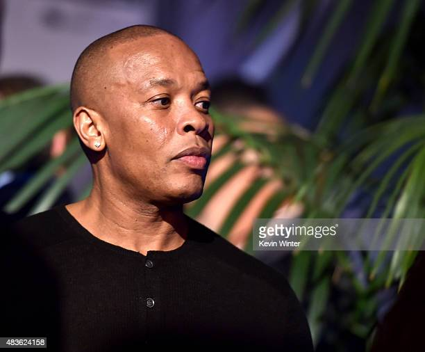 Rapper Dr Dre appears at the after party for the premiere of Universal Pictures and Legendary Pictures' Straight Outta Compton at the Microsoft...