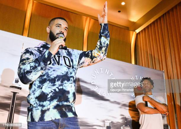 Rapper Drake and Maverick Carter attend the Uninterrupted Canada Launch held at Louis Louis at The St. Regis Toronto on August 02, 2019 in Toronto,...